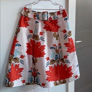 Talbots Pure Silk Floral Midi- Skirt with Belt Sz4